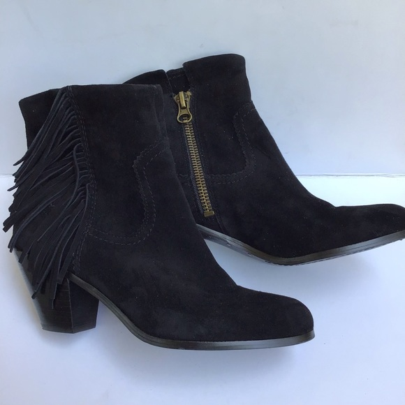 Sam Edelman Shoes - Sam Edelman Black Suede Fringe Booties